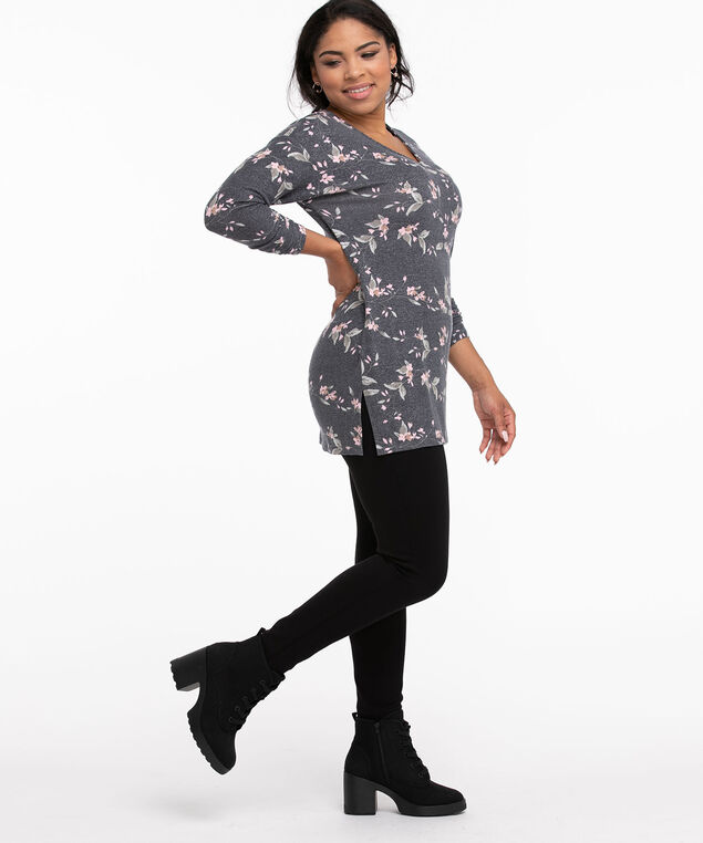 Back Cutout Long Sleeve Hacci Top, Navy Floral