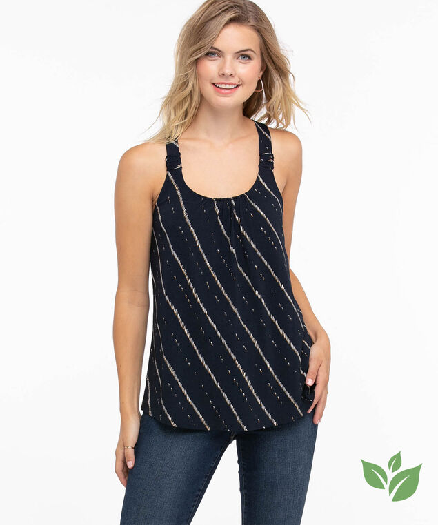 Eco-Friendly Ruched Strap Tank Top, Navy Stripe