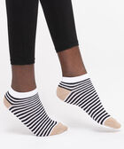 Striped Colourblock Lurex Ankle Socks, Black/Pearl/Gold, hi-res