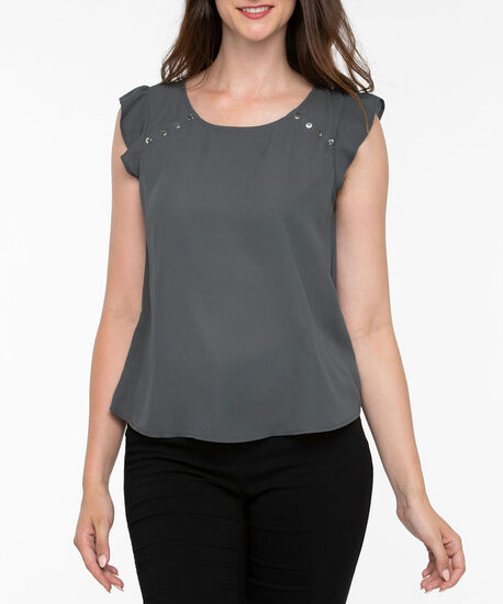 Flutter Sleeve Button Trim Blouse, Gunmetal, hi-res