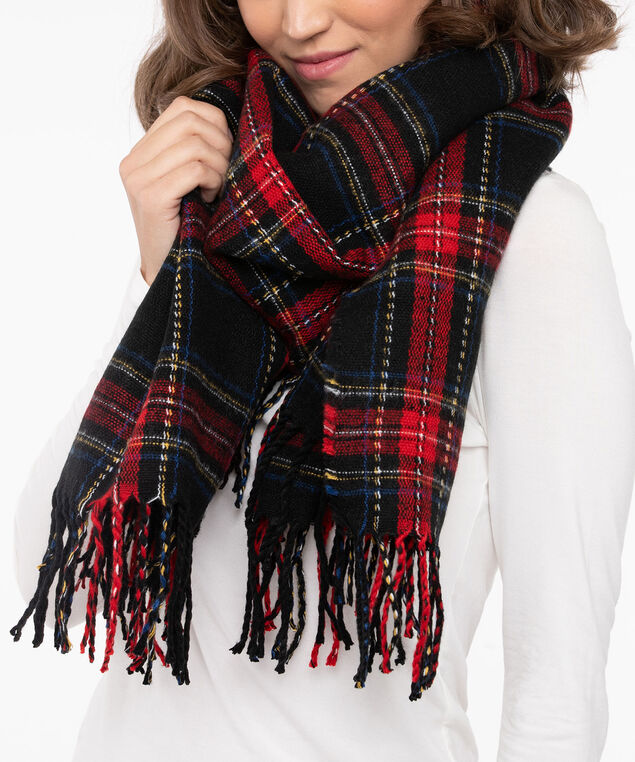 Plaid Print Oblong Scarf, Black/Crimson/Cobalt/Marigold, hi-res