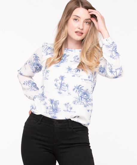 Long Sleeve Boat Neck Blouse, Pearl/Mid Blue, hi-res