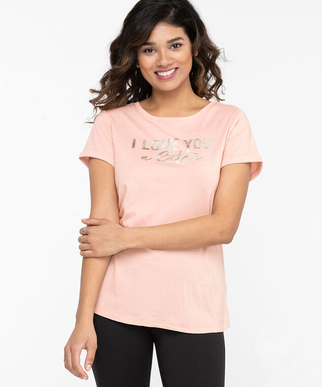 Eco-Friendly Crew Neck Graphic Tee, Pink