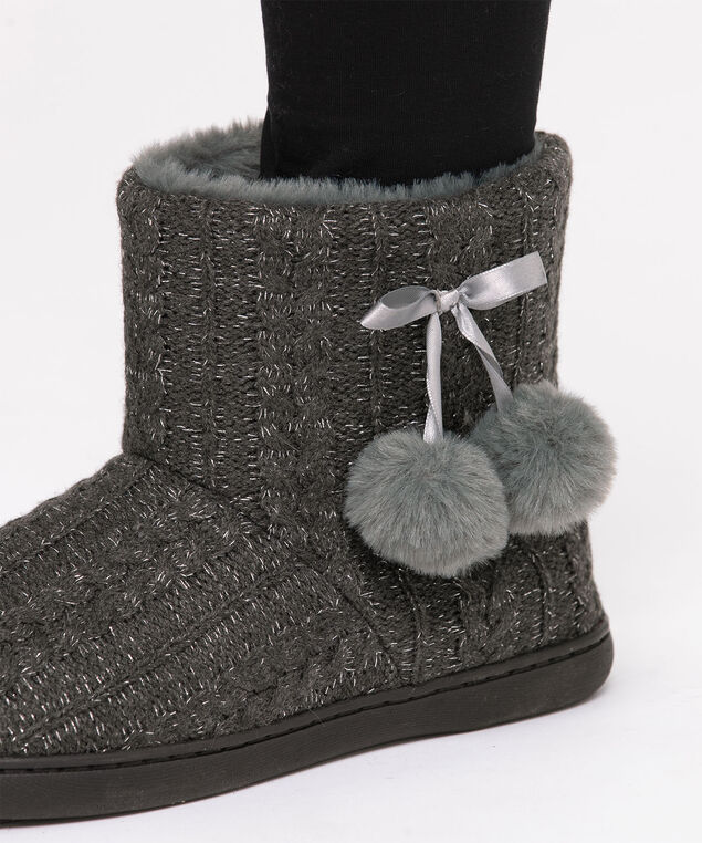 Grey Knit Bootie Slipper, Grey