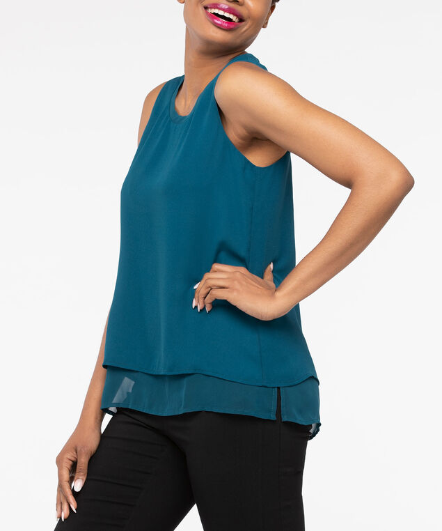 Sleeveless Layered Scoop Neck Blouse, Steel Blue, hi-res