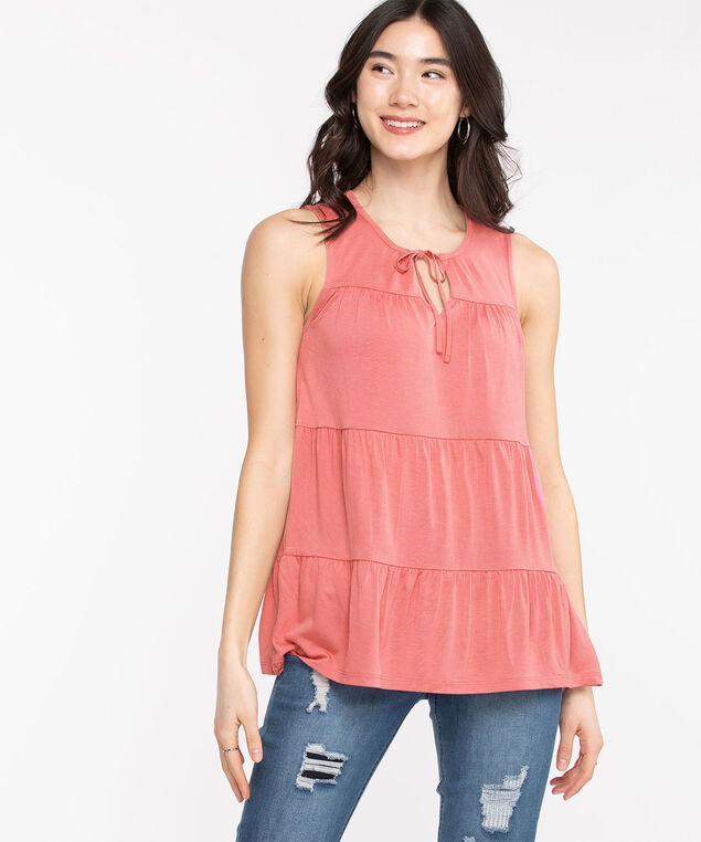 Sleeveless Keyhole Tie-Neck Top, Rouge Red
