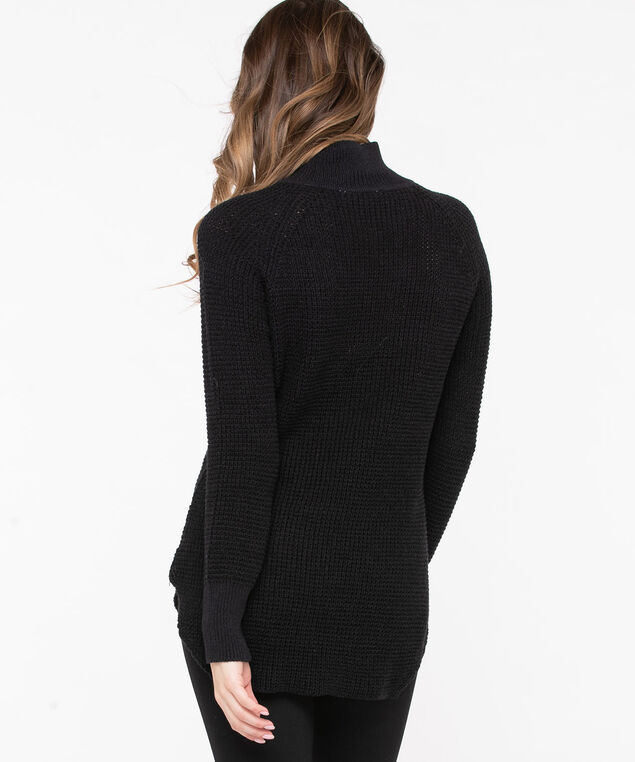 Mock Neck Tunic Sweater, Black