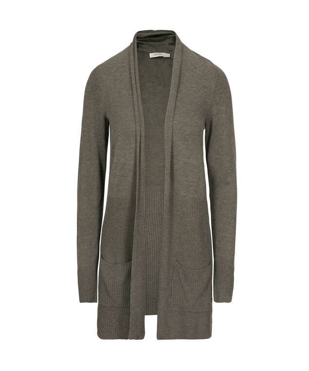 Tunic Length Open Cardigan, Medium Grey, hi-res