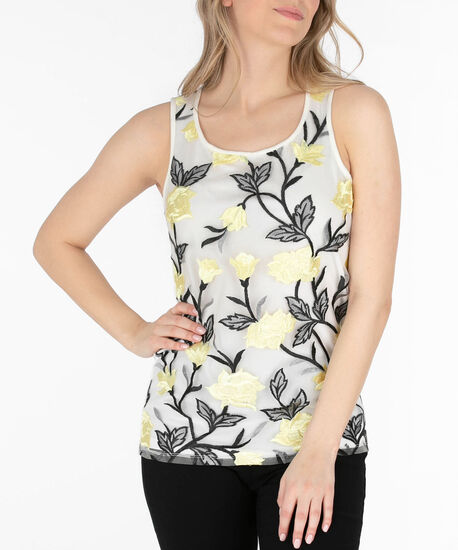 Sleeveless Embroidered Tank, Black/Pearl/Yellow, hi-res