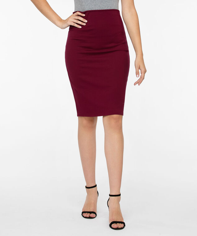 Ponte Pull On Pencil Skirt, Burgundy, hi-res