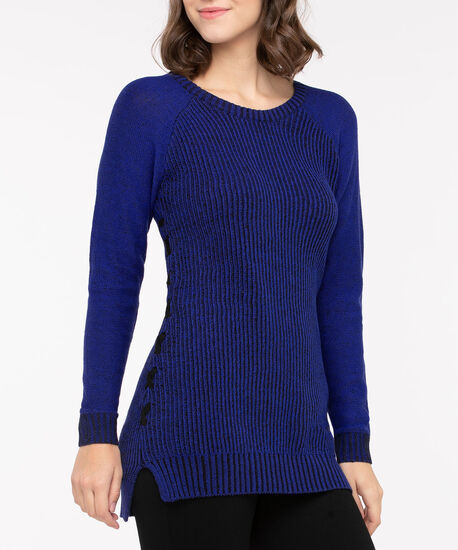 Side Lace Up Pullover Sweater, Bright Blue Mix, hi-res