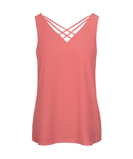 Criss-Cross Double-V Sleeveless Blouse, Coral, hi-res
