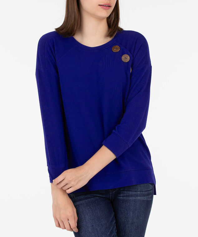 Button Detail Long Sleeve Pullover, Deep Sapphire, hi-res