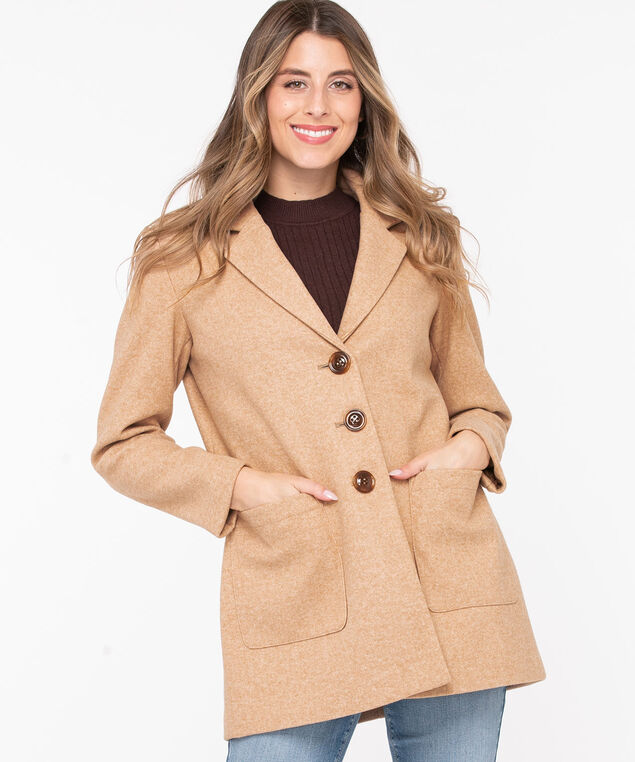 Camel Button Front Car Coat, Camel, hi-res