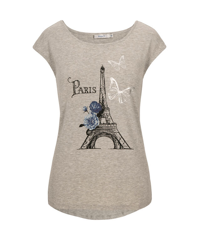Paris Extended Sleeve Top, Heather Grey, hi-res