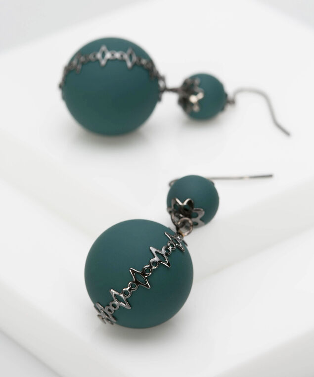 Double Matte Bead Drop Earring, Ivy/Hematite, hi-res