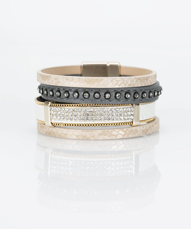 Multi Row Faux Leather Wrap Bracelet, Pearl/Mid Heathered Charcol, hi-res
