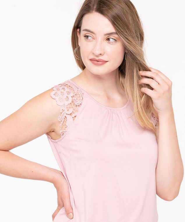 Crocheted Shoulder Sleeveless Top, Blush, hi-res