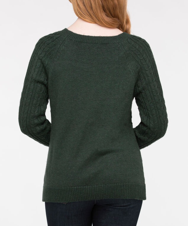 Cold Shoulder Cable Knit Sweater, Ivy, hi-res