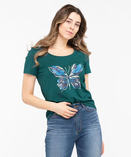 Butterfly Graphic Scoop Neck Tee, Midnight Teal/Sunshine, hi-res