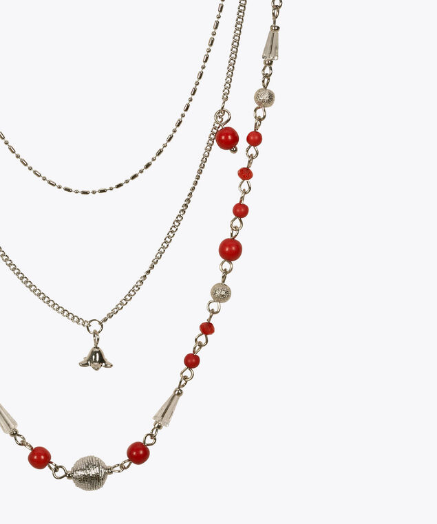 Multi-Row Stationed Bead Necklace, Coral/Rhodium, hi-res