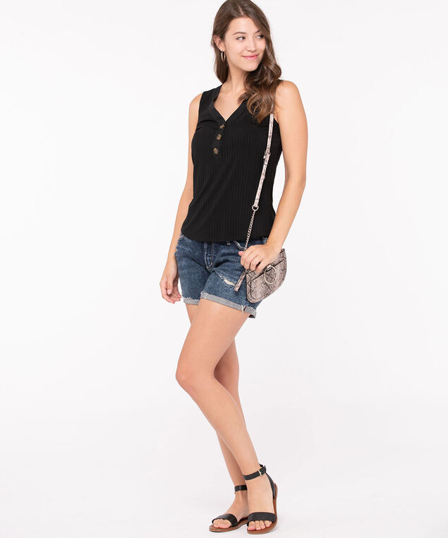 Sleeveless Button Ribbed Henley Top, Black, hi-res