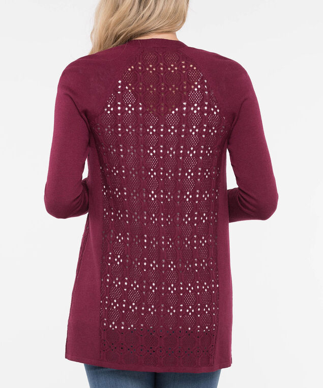 Pointelle Mid Length Open Cardigan, Burgundy, hi-res