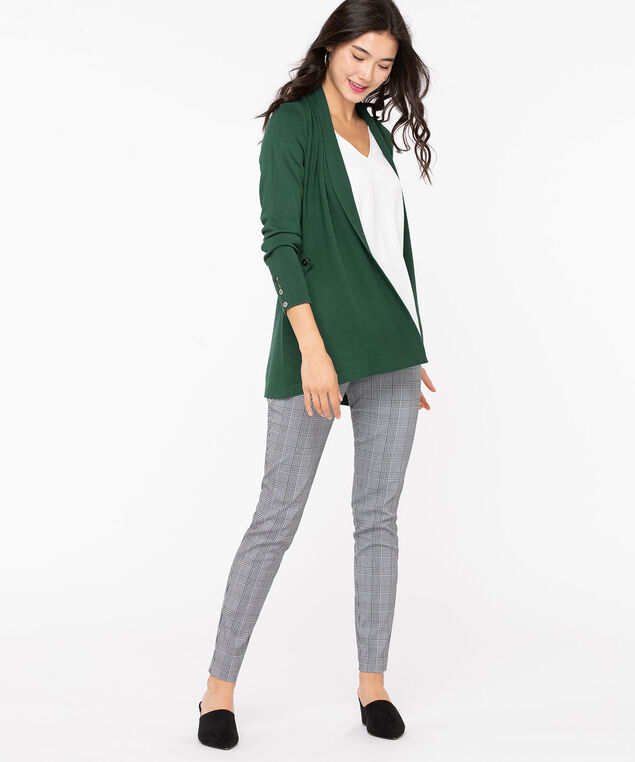 Ribbed Side Tab Open Cardigan, Emerald, hi-res