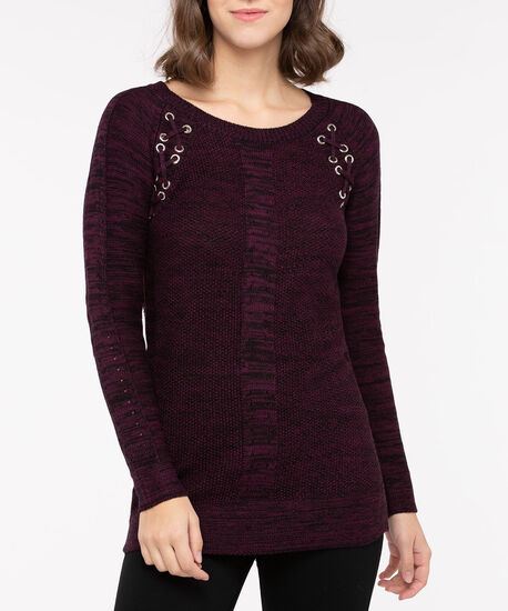 Lace Up Detail Pullover Sweater, Berry Mix, hi-res