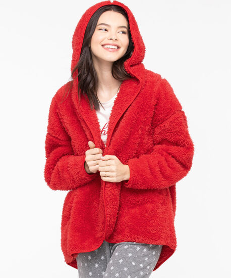 Cozy Hooded Lounge Cardi, Chili Pepper, hi-res