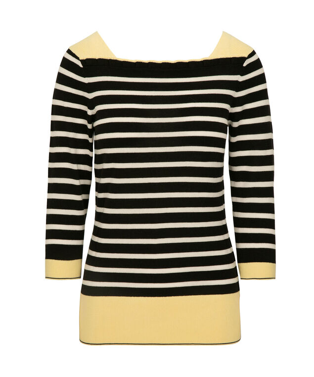 Striped Ruffle-Neck Pullover, Black/Pearl/Yellow, hi-res