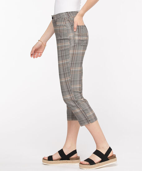 Microtwill Pull-On Crop Pant, Warm Neutral Plaid, hi-res