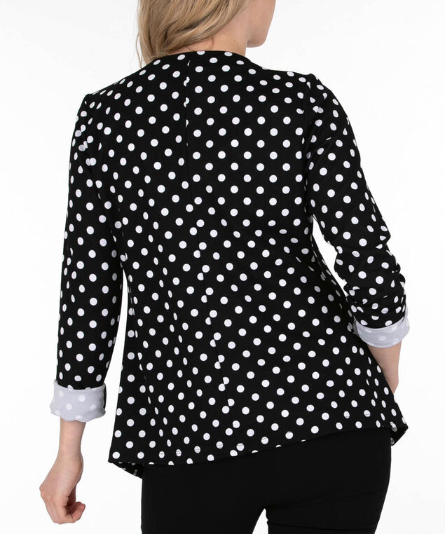 Polka Dot Open Blazer, Black/White, hi-res