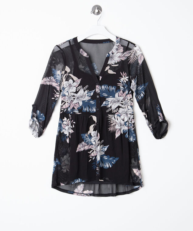 Button Front Mesh Floral Top, Black/Pearl/Blush/Blue, hi-res