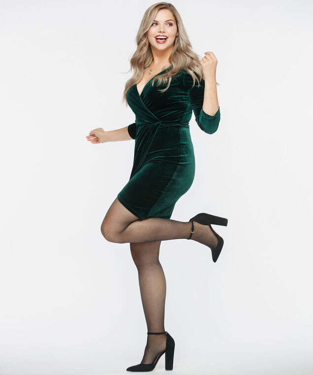 Deep Green Velvet Wrap Dress, Deep Green, hi-res