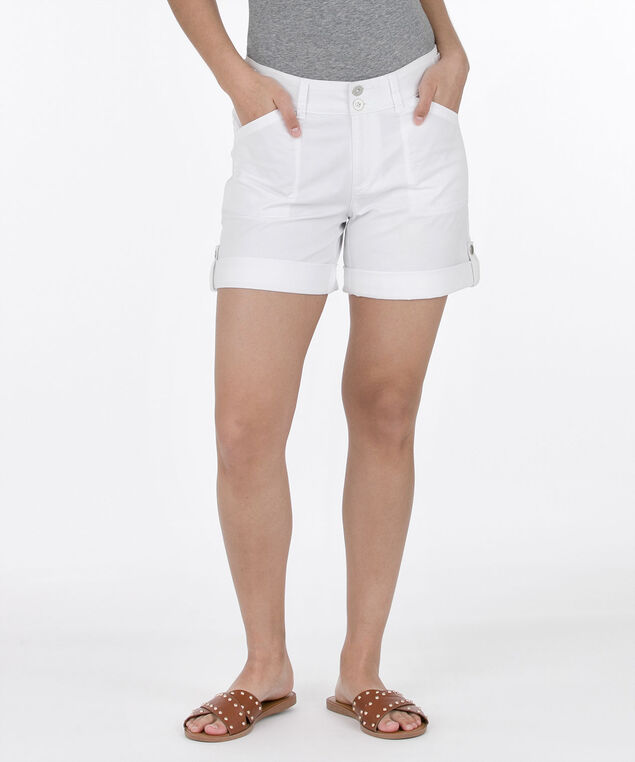 Washed Twill Roll-Cuff Short, Ivory, hi-res