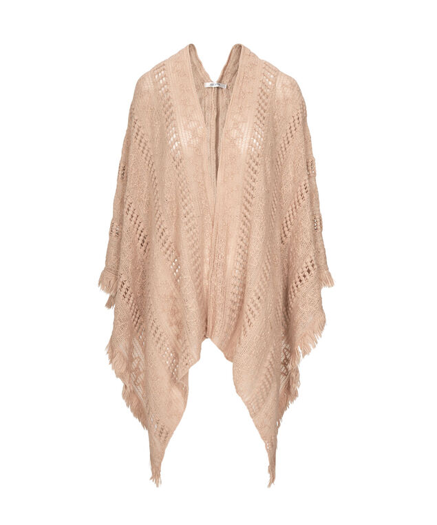 Frayed Edge Knit Ruana, Pale Pink, hi-res