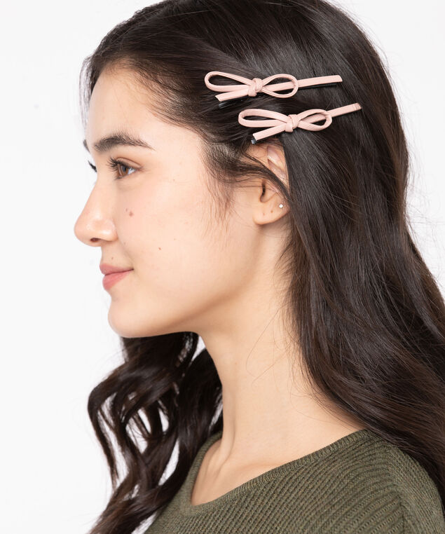 Faux Leather Bow Hair Clips, Black/Pink