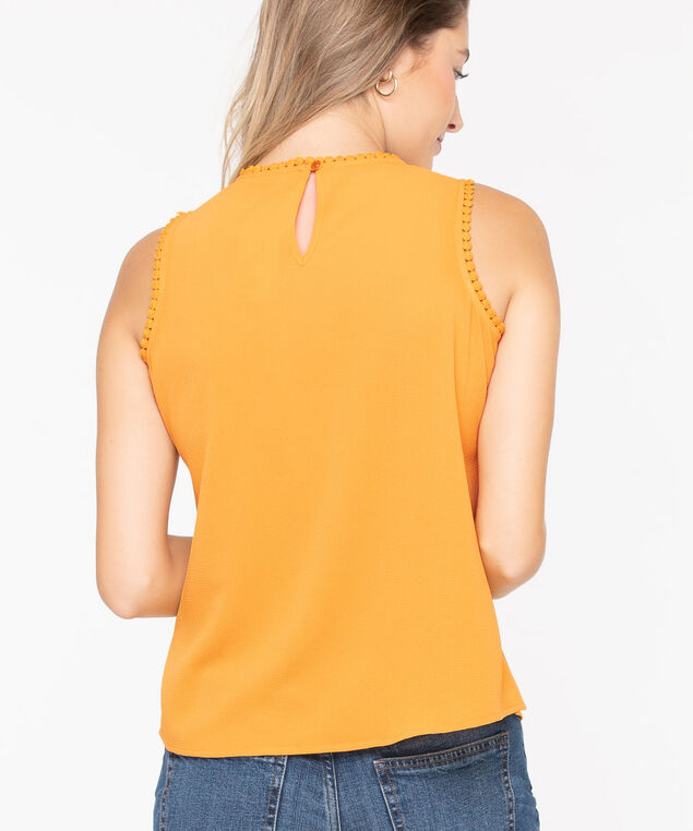 Sleeveless Crochet Yoke Blouse, Tumeric, hi-res