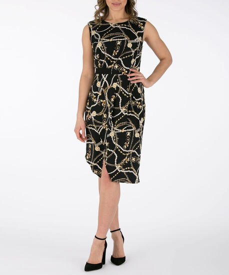 Sleeveless Asymmetrical Sheath Dress, Black/Gold, hi-res