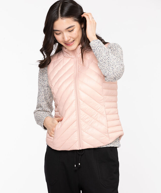 Packable Puffer Vest, Rose Smoke