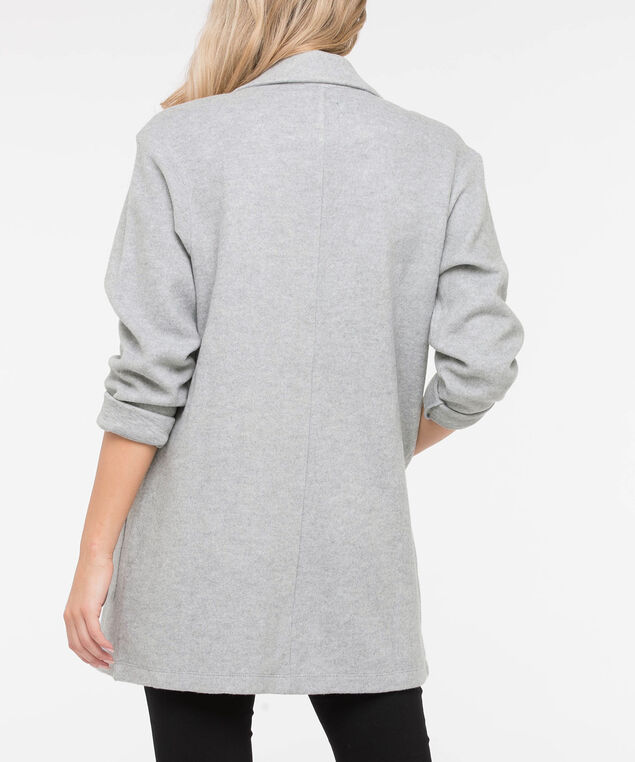 Long Sleeve Open Sweater Blazer, Grey, hi-res
