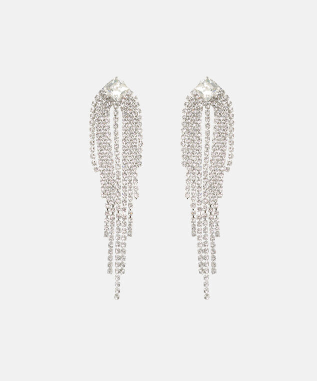 Falling Crystal Earring, Rhodium, hi-res