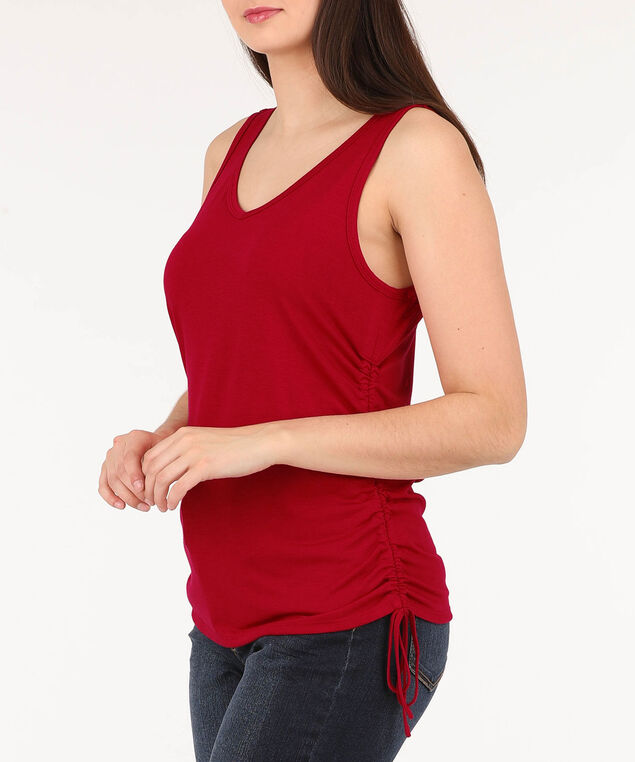 Sleeveless Cross Back Ruched Top, Cherry, hi-res
