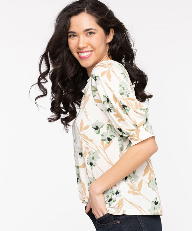 Balloon Sleeve Boat Neck Top, Whisper White/Camel/Green