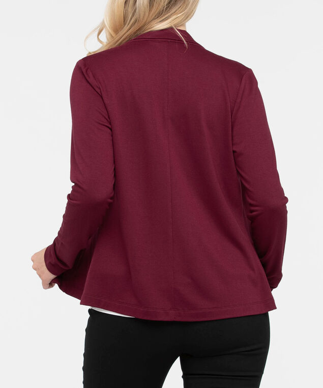 Long Sleeve Crop Cardigan, Burgundy, hi-res