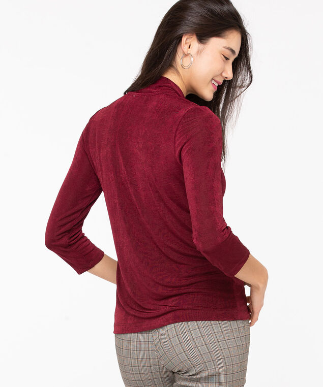 Textured Tie Neck Pullover Top, Roasted Beet, hi-res