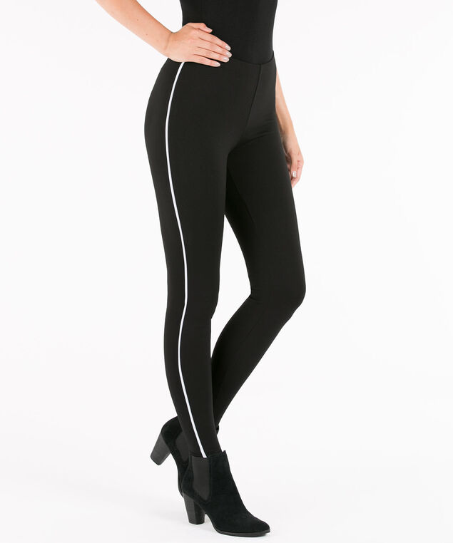 Racer Stripe Ponte Legging, Black, hi-res