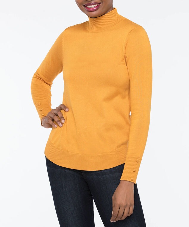 Mock Turtleneck Sweater, Marigold, hi-res