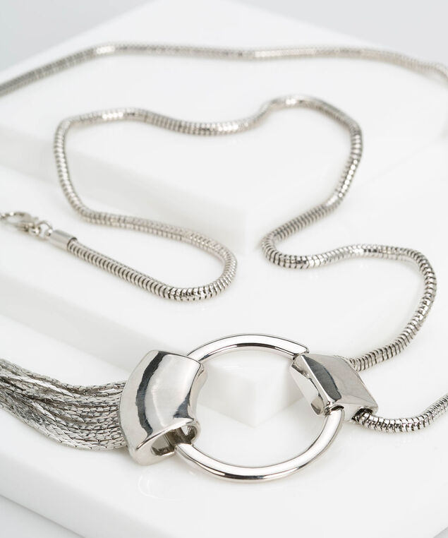 Silver Ring & Fringe Necklace, Rhodium, hi-res